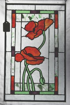 stained glass poppy pattern - Google Search