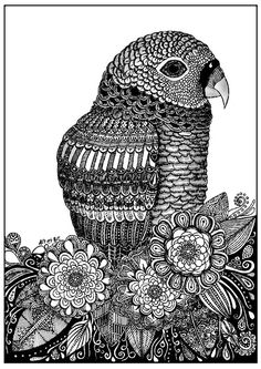 This coloring page repeat like a parrot !, From the gallery : Zentangle, Artist : Sabrina