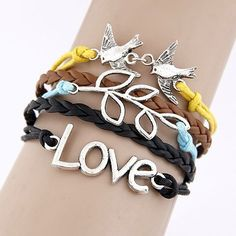 New Ladies Vintage Look Multi-Layer Charm Leather Bracelet Best Friends