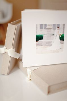 Cypress Album page layout. Platinum fabric with ivory swiss ribbon. 10x10 Whistler album.