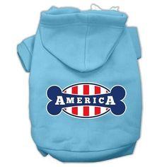 Bonely in America Screen Print Pet Hoodies Baby Blue Size XXL (18)