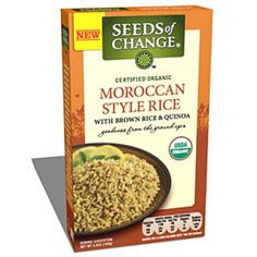 Seeds of Change Moroccan Style Rice with Brown Rice & Quinoa  Who says whole grains can't taste great? This organic brown rice and quinoa combo delivers serious Moroccan flavor along with nutrition to boot. And more spice means less salt. With only 240 milligrams of sodium per cup, this grain duo is way lower in sodium than most boxed sides. It's also an instant energizer courtesy of ample complex carbs and B vitamins like niacin and thiamin that help convert food to energy. Each serving…