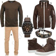 Braunes Herren-Outfit mit beiger Chino (m0602)
