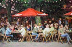 Richard van Mensvoort, Terras Boulevard, olieverf op doek, 40x60 cm, €.1650,-