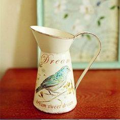 VANCORE(TM) American Style Hamlet Simulation Flower Chic Mini Metal Pitcher Vase for Home Decoration