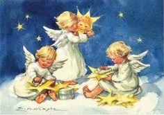 Angels brushing stars, illustration by Erica von Kager Christmas Card Images, Vintage Christmas Images, Retro Christmas, Christmas Angels, Christmas Art, Angel Images, Angel Pictures, Vintage Greeting Cards, Vintage Postcards