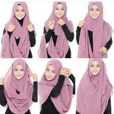 This is a simple, easy and a soft looking hijab style, it looks so beautiful and feminine, besides the coverage and modest look it adds to your look. Place the hijab on your head with short & long sides… Easy Hijab Style, Hijab Simple, Simple Hijab Tutorial, Hijab Style Tutorial, Muslim Women Fashion, Islamic Fashion, Casual Hijab Outfit, Hijab Dress, Hijab Mode Inspiration