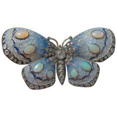Opal, enamel diamond butterfly brooch