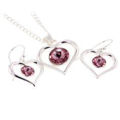 Topaz Silver Pink CZ Heart Set P-1404 E-11924