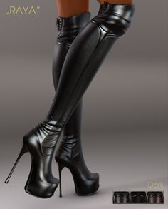 "**UTOPIA@Design** - ""RAYA"" - Dark Thigh High Boots, High Heel Boots, Heeled Boots, Bootie Boots, Cute Boots, Sexy Boots, Black Boots, Hot Heels, Sexy High Heels"