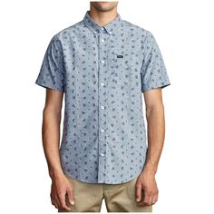 That'll Do Print Short-Sleeve Shirt - Men's Short Sleeve Button Up, Button Up Shirts, Chambray, Cool Buttons, Oxford Fabric, Fabric Patch, Family Outfits, Golf Outfit, Golf Shirts