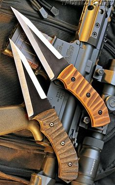Tactical fixed blade knives.
