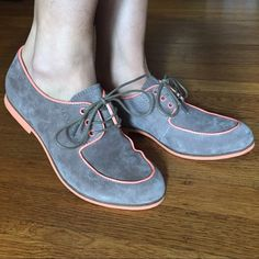 Hush puppies graham blucher Worn twice and comes with original box! Great condition with only one barely noticeable line on the side of the the right shoe as photographed. Color is taupe with peach trim accent. It's suede material. The box says US 6 euro 37. Hush Puppies Shoes Flats & Loafers