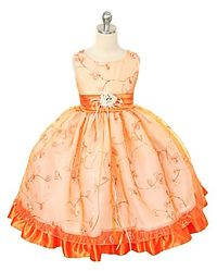 #FlowerGirlDresses - Flower Girl Dress Style 202- Sleeveless Embroidered and Sequined Organza and Taffeta Dress
