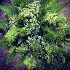 Green bouquet with Umbrella fern, Goanna claw and Koala fern by Julia Rose