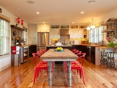 Open Plan Kitchen and Dining Room Design ldeas =love the idea of the plastic dining chairs and layout of the area