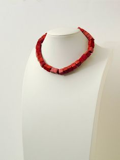INDICAN - Red Sponge Coral Cube Necklace