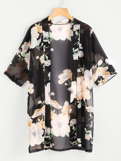SheIn offers Floral Print Sheer Kimono & more to fit your fashionable needs.To find out about the Floral Print Sheer Kimono at SHEIN, part of our latest Kimonos ready to shop online today!Affordable women's kimono tops online store for every occasio Black Chiffon Blouse, Chiffon Kimono, Chiffon Tops, Print Chiffon, Floral Kimono, Floral Chiffon, Kimono Top, Kimono Fashion, Fashion Clothes