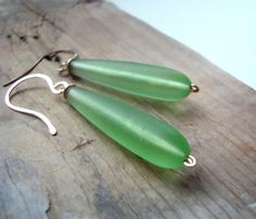 Pastel Green Sea Glass Long Teardrop Earrings Gold Filled Beachy Summer Fashion Beach Glass Jewelry Upcycled Jewelry Gifts Under 40