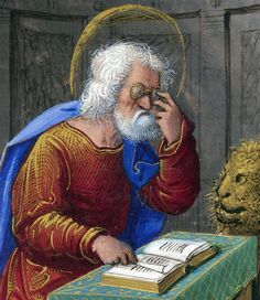 Mark the Evangelist from British Library, Yates Thompson Book of Hours, Use of Rome ('The Tilliot Hours'). France, Central (Tours) c. Medieval Life, Medieval Art, Medieval Manuscript, Illuminated Manuscript, Illuminated Letters, British Library, San Marcos Evangelista, Mark The Evangelist, U Mark