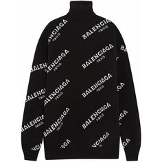 Balenciaga Oversized intarsia wool-blend turtleneck sweater found on Polyvore featuring tops, sweaters, black, intarsia sweater, long sleeve oversized top, balenciaga sweater, long sleeve turtleneck top and over sized sweaters