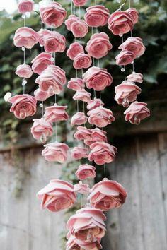 felt rose mobile-I love this.