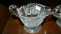 Lot: Antique American Brilliant Cut Glass Fry Creamer Sugar, Lot Number: 0110, Starting Bid: $10, Auctioneer: Hamilton's Antique Auction Gallery, Auction:  Monumental Antique & Collectibles Tue Jan , Date: January 20th, 2015 EST