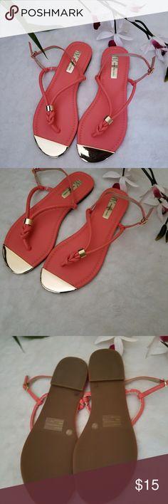 Nwot INC Moirah Flat Thong Sandals Grapefruit colored SUPER cute sandals. Never worn INC International Concepts Shoes Sandals