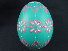 Hand Decorated Easter Egg, Pysanka on Chicken Egg with Flowers, Polish ...