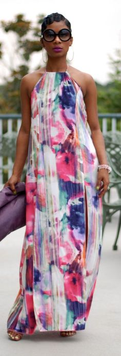 Youngastyle Colorful Floral Halter Maxi Dress