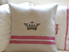 Burlap pillow cover with crown and red stripes. 28.00, via Etsy.