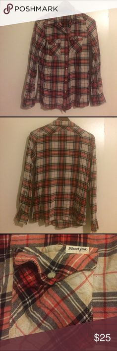 ❣️DIESEL Plaid Shirt❣️ DIESEL plaid snap up shirt with snap front pockets. Great used condition. Comfy and always trendy. Diesel Tops Button Down Shirts