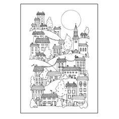 On the hills - Hanna Karlzon #nordicdesigncollective #hannakarlzon #onthehills #city #cityonhills #poster #illustration #house #houses