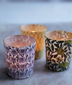 Japanese print paper wrapped votives... mmmm