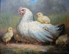 """Robert FREMOND (XXème), """"Poule et ses poussins"""", huile sur isorel signée en bas à gauche, 37 x 45 cm. (M)"""