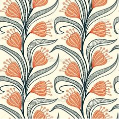 Pattern with Stylized Drawings of Flowers - Patterns Decorative