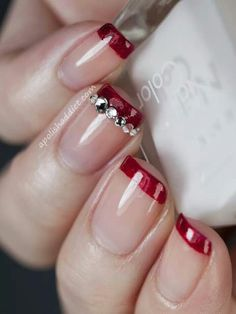 Funky French ~ Red Tip + Bling Signature Nail