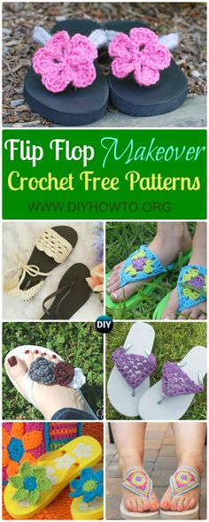 Collection of Crochet Flip Flop Footwear Makeover Free Patterns: Restyle with crochet flip flop soles into slippers, sandals and even boots. via @diyhowto