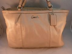 Coach East / West Leather Tote Purse Bag Pearl Beige Color F17722 Many Pockets #Coach #F17722