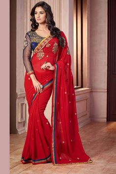 Buy Red Georgette Party Wear Saree Online in low price at Variation. Huge collection of Party Wear Sarees for Party, Festivals, Engagements and Ceremonies. #party #partywearsarees #sarees #onlineshopping #latest #lowprice #variation. To see more - https://www.variationfashion.com/collections/party-wear-sarees