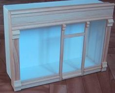 """1/8"""" foamboard box w/removable storefront(wood glued on glass) (no instructions)"""