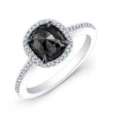 White Gold Halo Cushion Black Diamond Ring