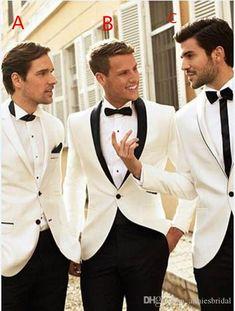 2017 Latest Coat Pant Designs White Wedding Suits Men Prom Suit Tuxedo Slim Fit 2 Piece Custom Groomsman Blazer Terno Masculino