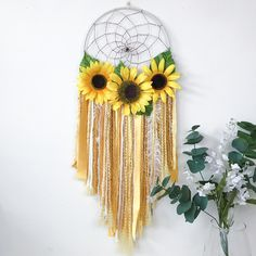 Your place to buy and sell all things handmade Excited to share this item from my shop: Boho Sunflower Dream Catcher Sunflower Nursery, Sunflower Room, Sunflower Baby Showers, Sunflower Home Decor, Sunflower Crafts, Nursery Themes, Nursery Room, Girl Nursery, Girl Room