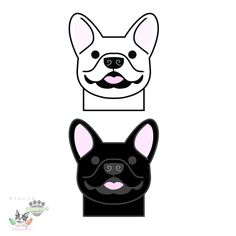 French bulldog car vinyl decal sticker - happy Frenchie face silhouette in black, white or tan - smooshfaceunited pack love