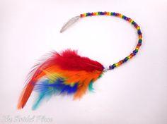 Rainbow Beaded Feather Hair Clip Bohemian Bride by BridalPlace