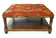 One Kings Lane - Style & Function - Baxter Kilim Tufted Coffee Table