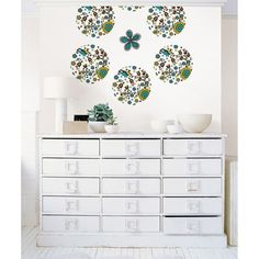 #oBedding - #Brewster Home Fashions Anya Dots Wall Accent Stickers - 4pc Blue Green Floral Circle Decals - AdoreWe.com
