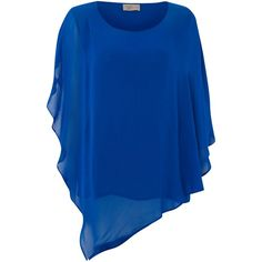 Label Lab Oversized sleeve blouse ($46) ❤ liked on Polyvore featuring tops, blouses, cobalt, women, blue blouse, blue chiffon top, chiffon sleeve blouse, blue top and chiffon blouse