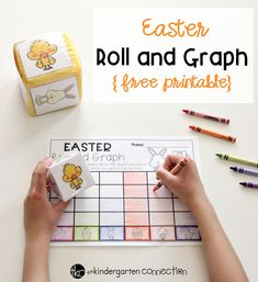This free printable Roll and Graph Easter Math Activity is the perfect addition to your Kindergarten math center this Easter season! #Easter #iteachk #teachersfollowteachers
